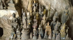 Miniature Buddha structures at Pak Ou Caves